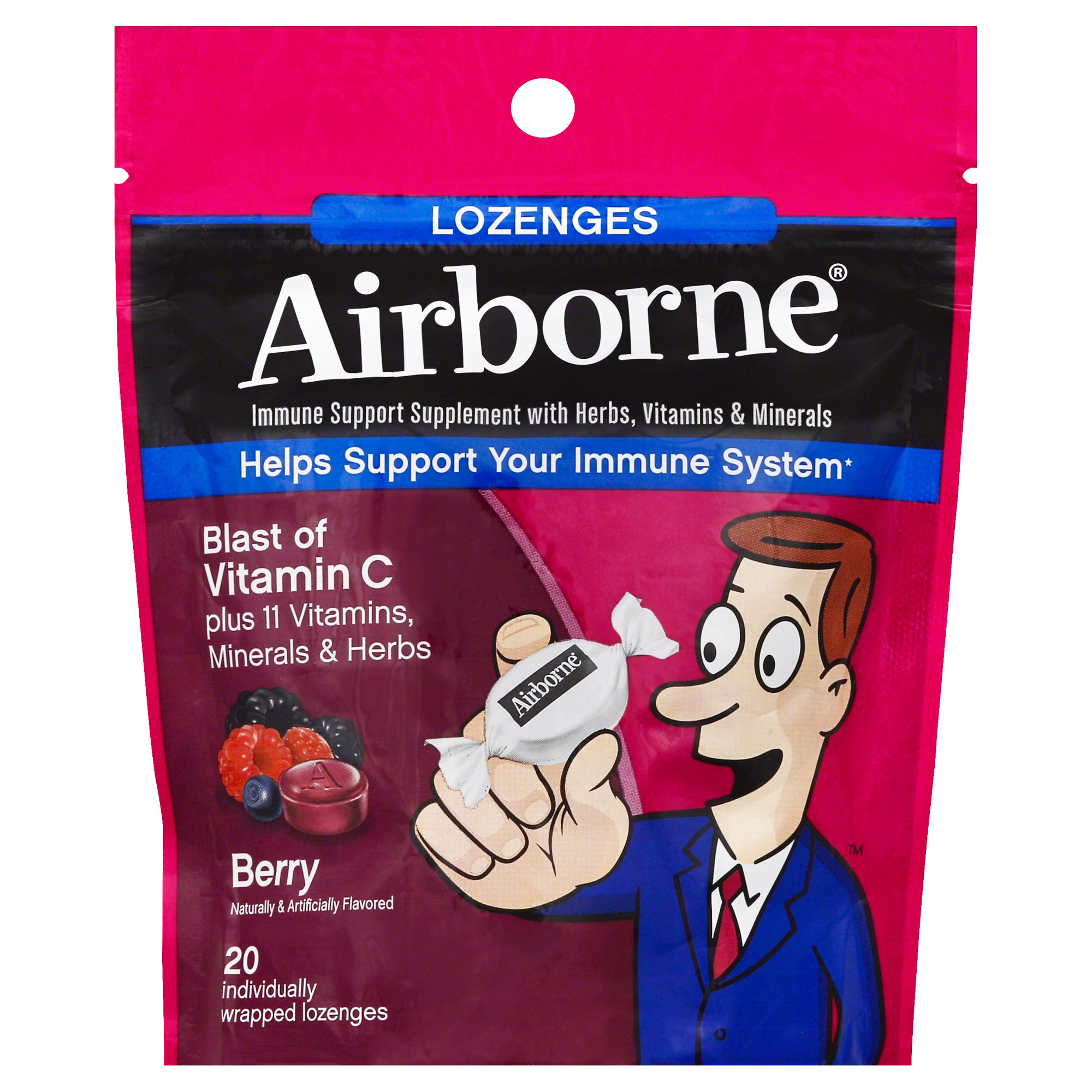 Airborne Vitamin C Lozenges, Berry, 1000mg - 20 Individually Wrapped Lozenges