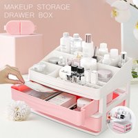 Makeup Holder Case Box Cosmetic Storage Lipstick Drawer Jewelry Storage Extra Large Makeup Organizer Drawer Double-deck 13.5x10 inch