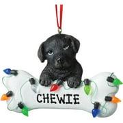 Personalized Christmas Ornament - Dog Black Lab Dog Bone