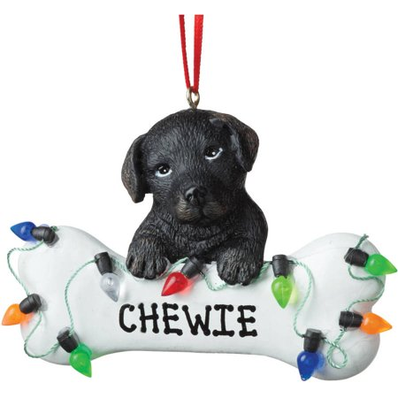 Personalized Christmas Ornament - Dog Black Lab Dog (Little Lamb Personalized Plate)