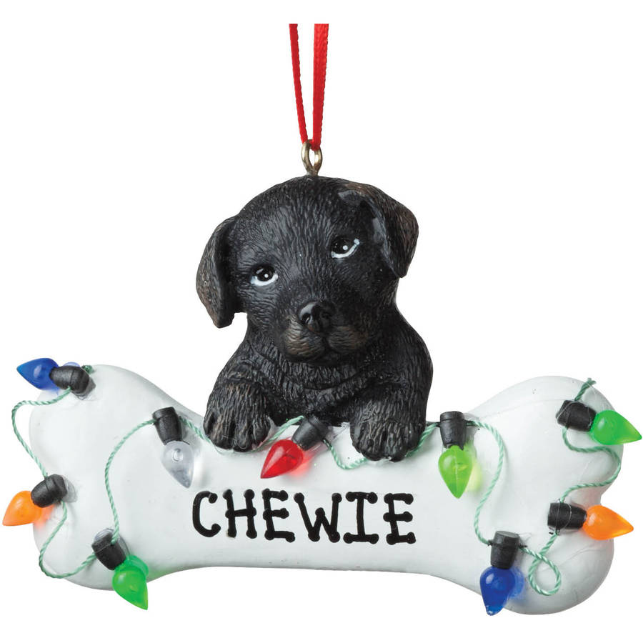 Personalized Christmas Ornament - Dog Black Lab Dog Bone