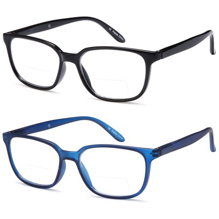 ALTEC VISION Pack of 2 Classic Style Bifocal Readers Spring Hinge Reading Glasses - 1.00x Bifocal Sun Readers Glasses