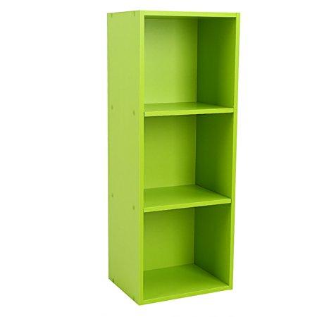 "WALFRONT 31"" 3-Shelf Bookcase, 3-Tier Open Wood Bookshelf DIY Closet Organizer Stand Rack Book Storage Display Shelf (Green)"