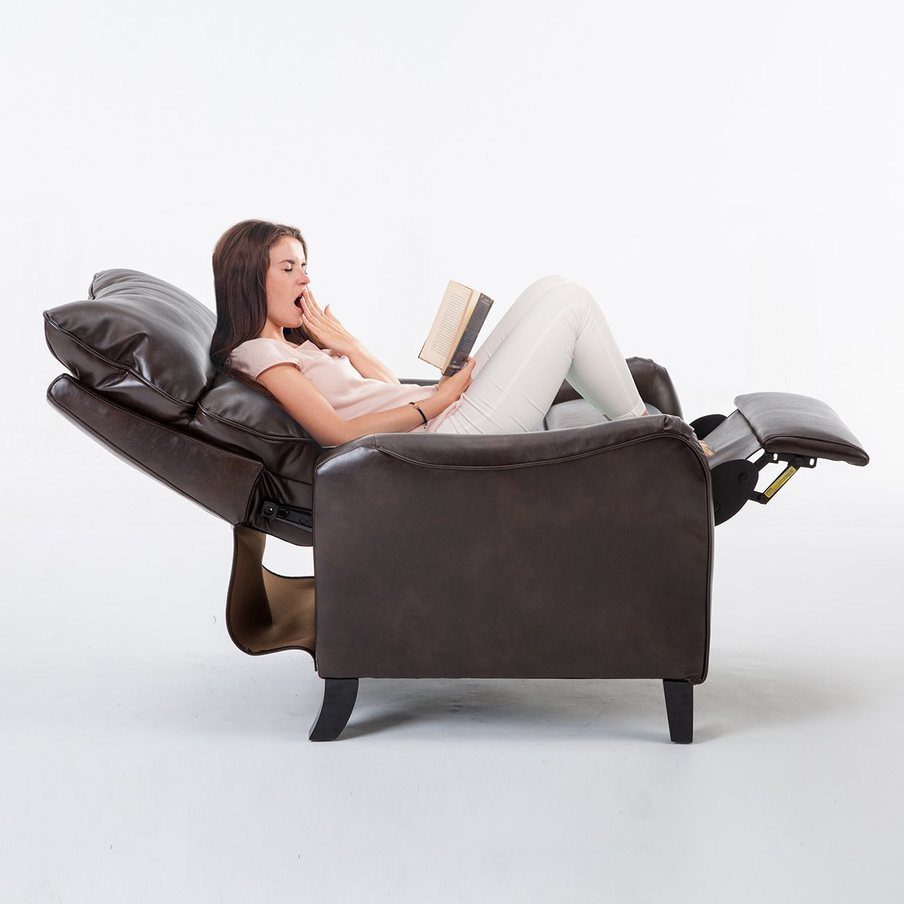 BONZY English Roll Arm Pushback Recliner - Taupe