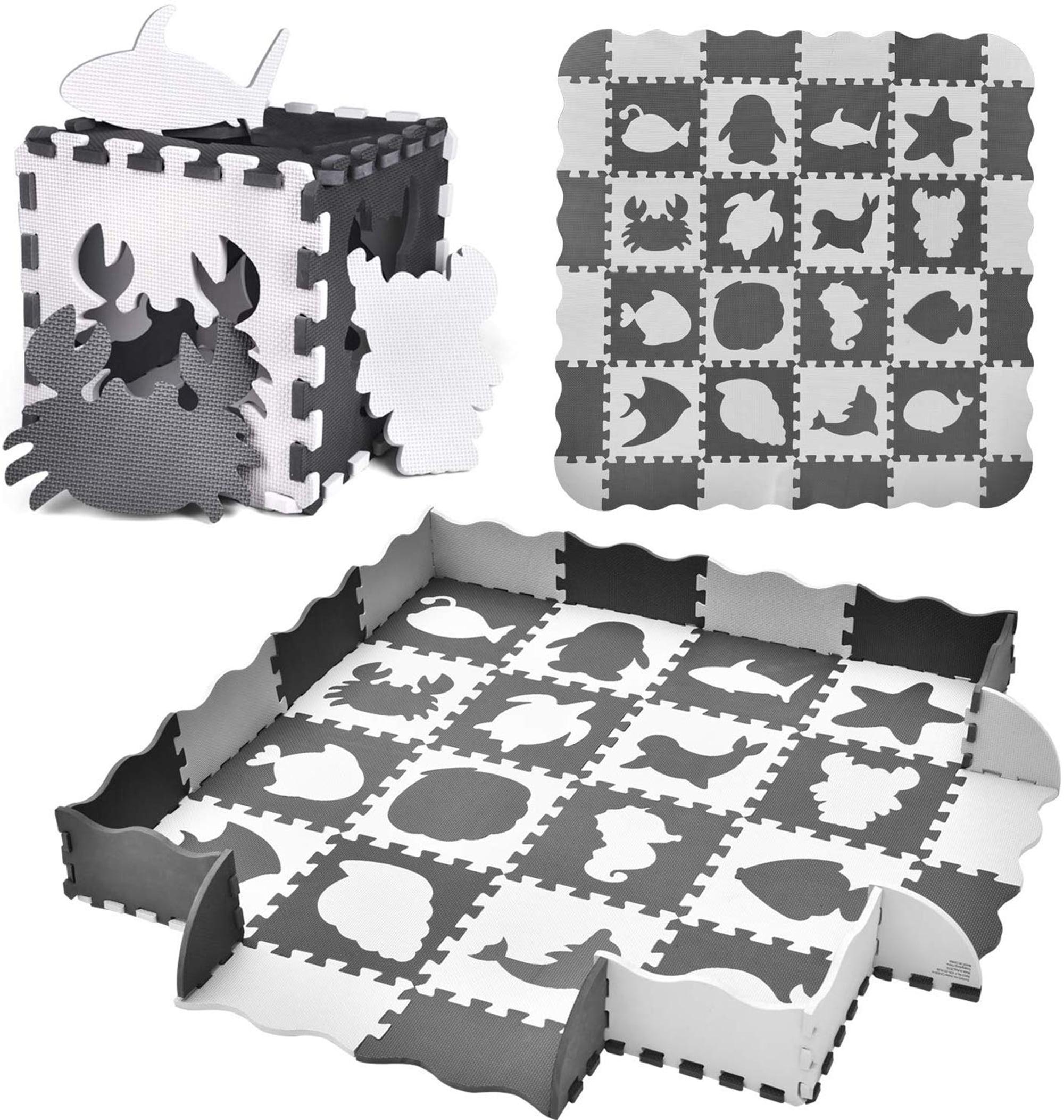 White Baby Play Mat Tiles Non Slip Foam Floor Mat for Kids Playroom Nursery