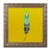 "Trademark Fine Art ""Plume 2"" Canvas Art by Sylvie Demers, Gold Ornate Frame"