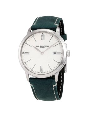 Baume & Mercier Classima White Dial Mens Green Leather Watch 10388