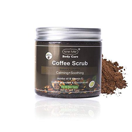 Natural Robust Coffee Scrub - Organic Coffee, Coconut and Shea Butter - Best Acne, Anti Cellulite and Stretch Mark treatment, Spider Vein Therapy for Varicose Veins &