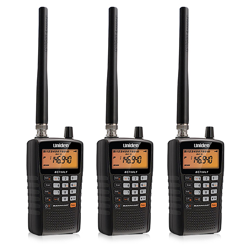 Uniden BC75XLT Handheld Scanner (3-Pack) with Compact Display & Keypad