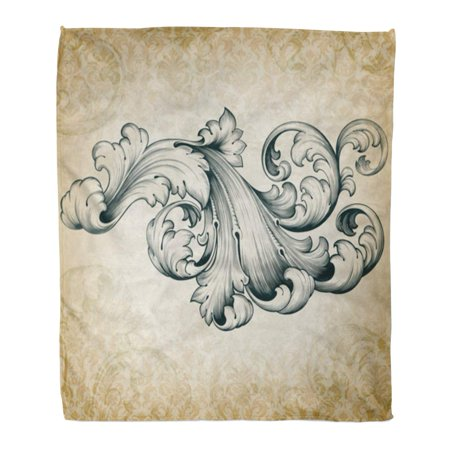 - ASHLEIGH Flannel Throw Blanket Vintage Baroque Engraving Floral Scroll Filigree Border Acanthus Pattern Soft for Bed Sofa and Couch 58x80 Inches