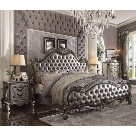 Acme Furniture 26837EK Versailles II Silver PU Antique Platinum King Bed Set 3Pc