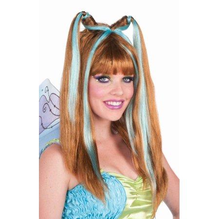 Aqua Fantasy Fairy Wig Auburn Blue Highlights Women's Cosplay Costume Accessory - image 1 de 1