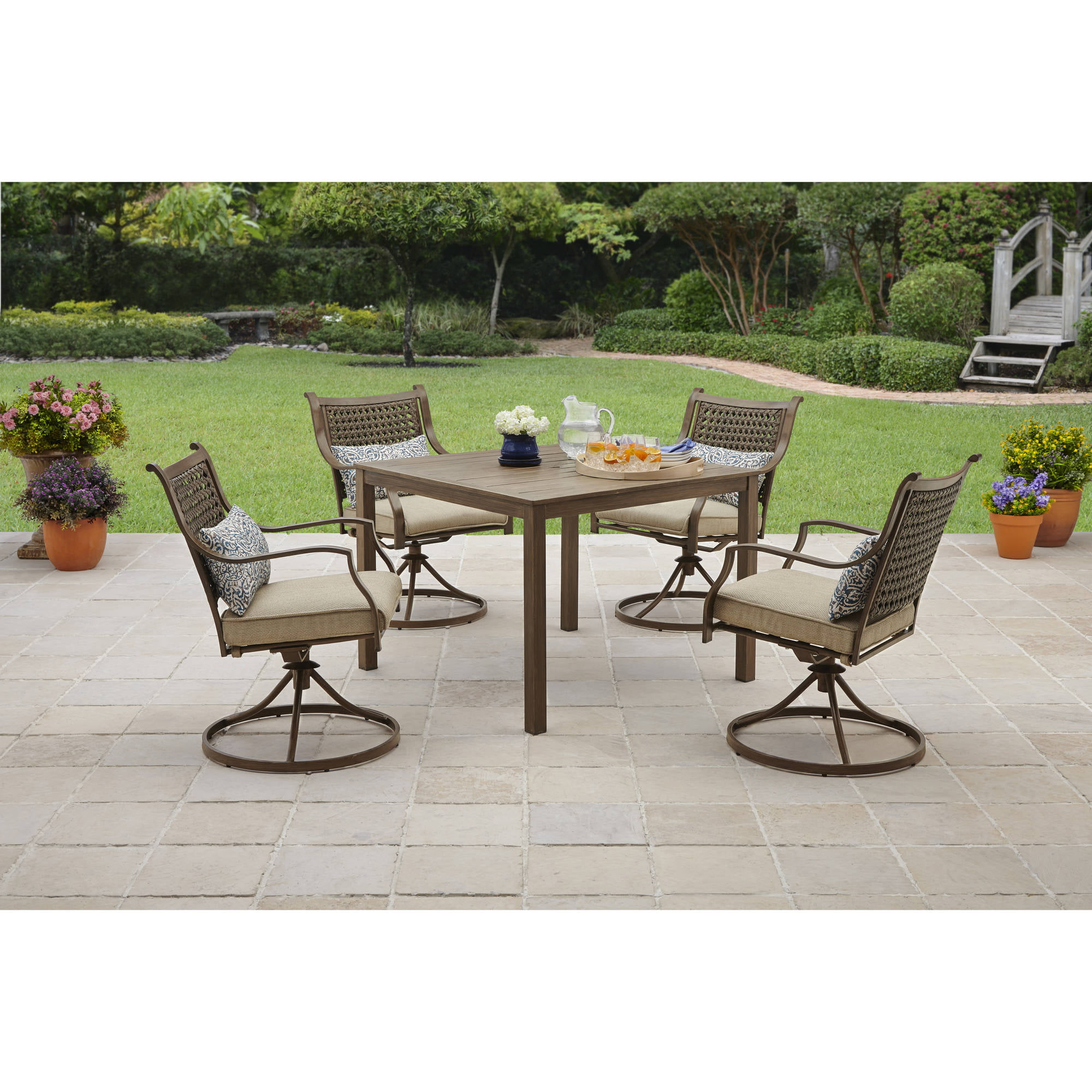 Better homes and gardens bramblewood 7 piece patio dining for Better homes and gardens azalea ridge chaise lounge