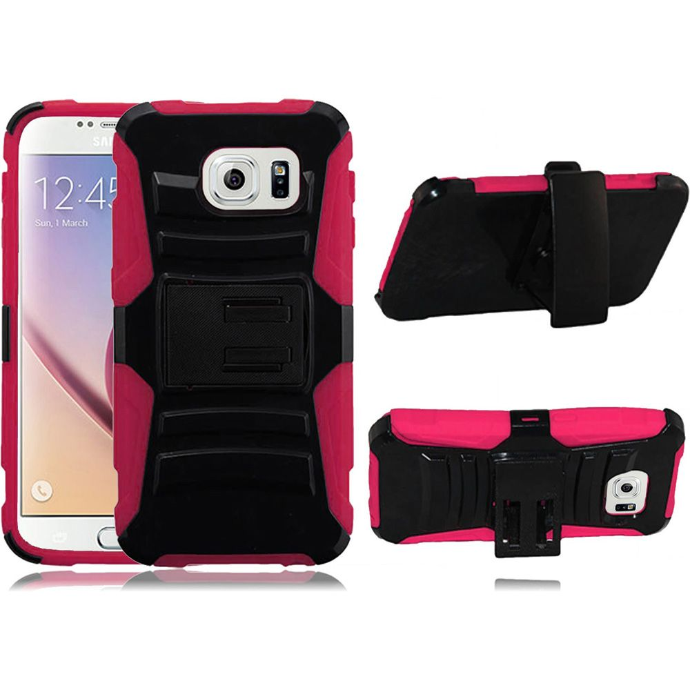 For Samsung S6 Case - Hybrid Phone Cover Side Kickstand With Holster Clip - Black+Hot Pink