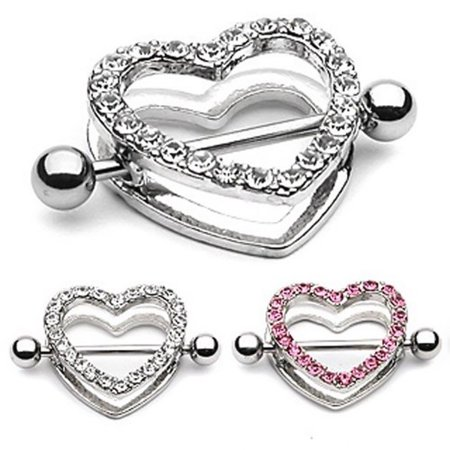 Pair of 14ga Nipple Shield - CZ Gem Paved Heart-Shaped Setting with Free Barbell (Barbell Clear Retainer)