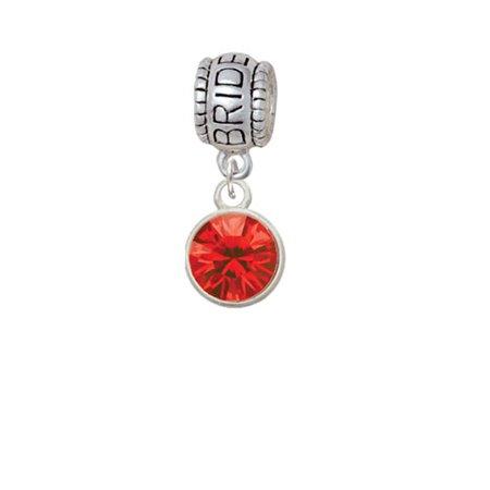 10mm Red Crystal Drop - Bride Charm Bead