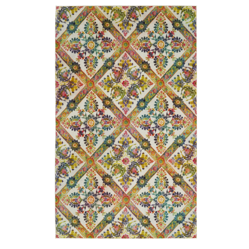 Mohawk Prismatic Area Rugs - Z0134 A416 Contemporary Green / Dandelion Web Floral Diamond Criss-Cross Rug