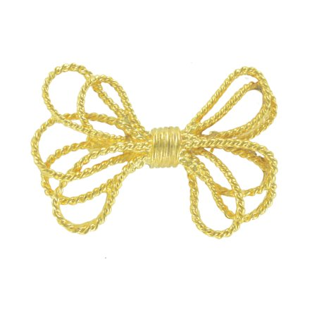 Danecraft Gold Tone Retro Style Cord Look Bow Pin Brooch