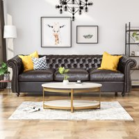 Noble House Aaniya Chesterfield Faux Leather Tufted Sofa with Scroll Arms, Brown