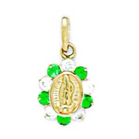 14k Yellow Gold Green Cubic Zirconia Small Virgin Mary Pendant - Measures 17x9mm