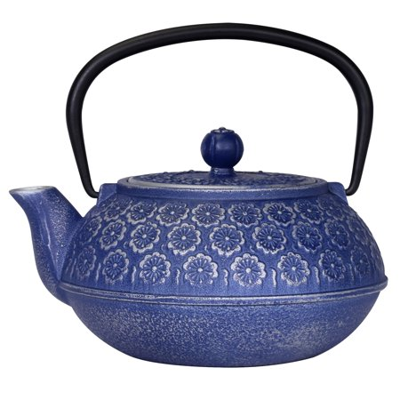 Primula Floral 34 Oz. Cast Iron Teapot With Enameled Interior And Stainless Steel Loose Leaf Tea Infuser - Blue