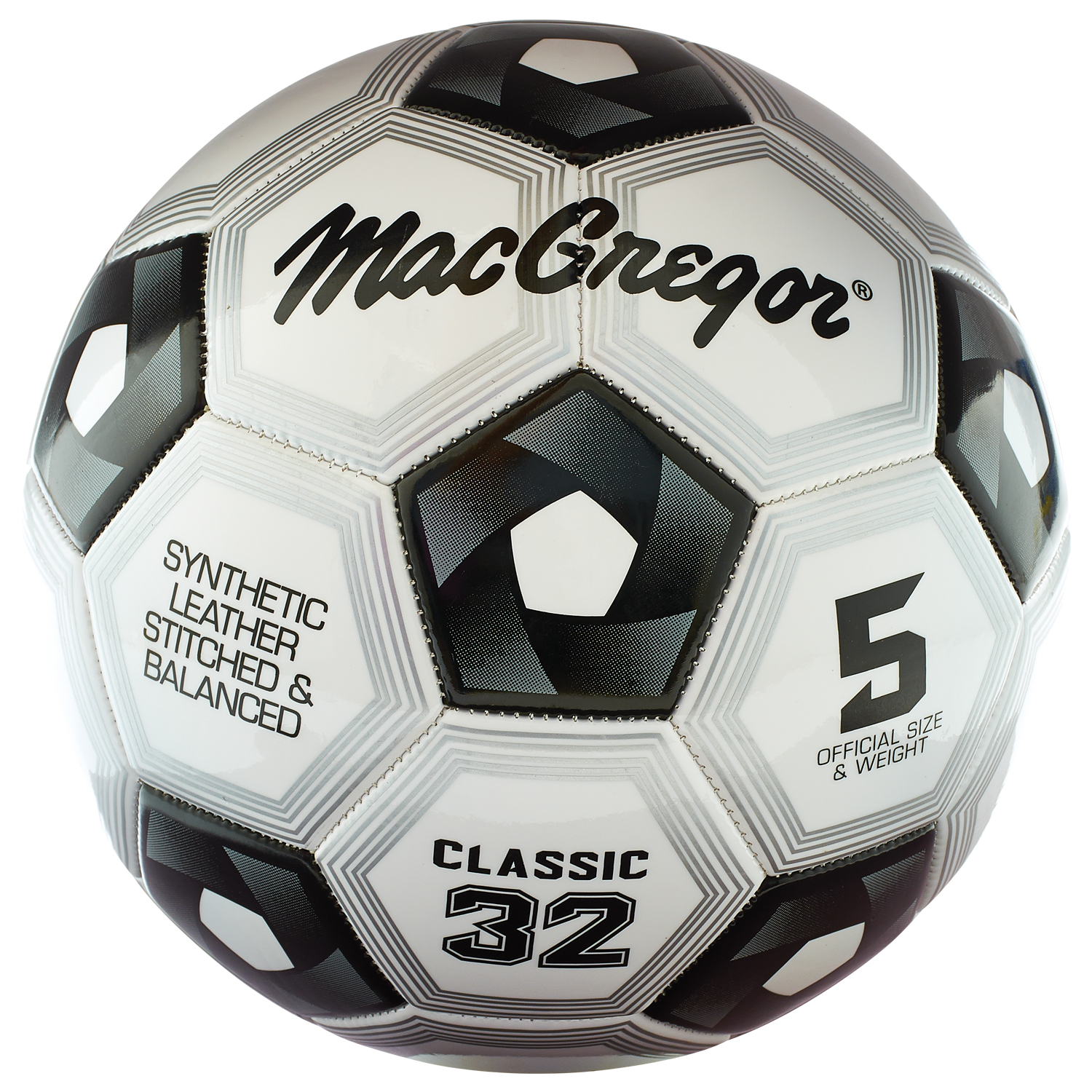 Macgregor size 5 black and white classic soccer ball