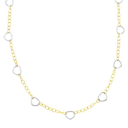 Simply Gold Open Heart Link Necklace In 14Kt Two Tone Gold