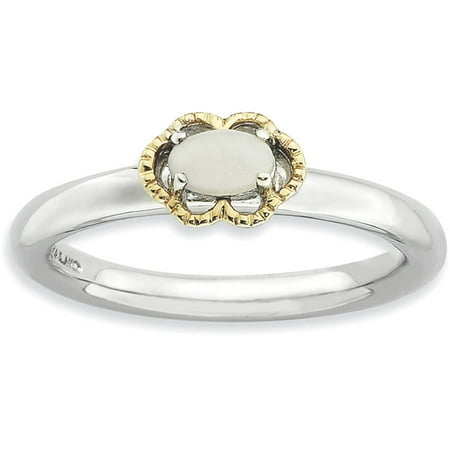 Agate Topaz Ring - White Agate Sterling Silver and 14kt Gold Polished Ring