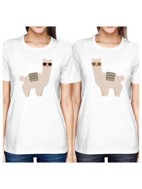 365 Printing Llamas With Sunglasses Cute Design Best Friend Matching Shirts Gift