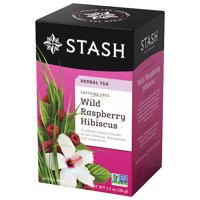 (2 Pack) Stash Tea Wild Raspberry Hibiscus Herbal Tea, 20 Ct, 1.3 Oz