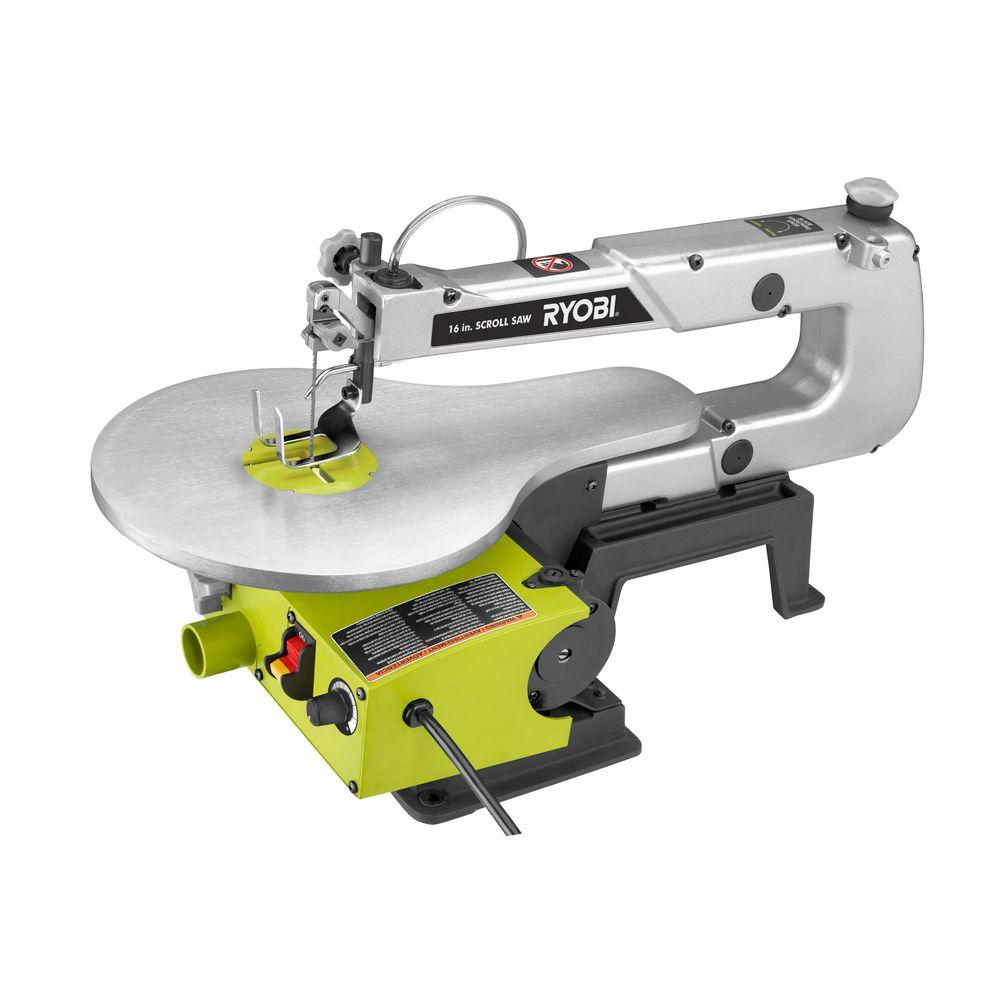 Ryobi Scroll Saw 1.2 Amp Corded 16 in. Throat Depth 550-1600 SPM Variable Speed SC165VS by