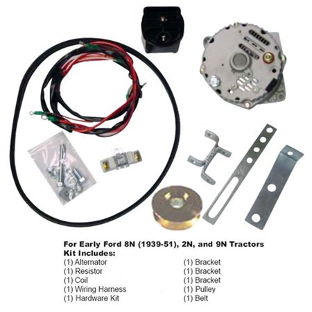 ford 8n 2n 9n tractor generator to alternator conversion kit 1939-1951 6  volt to 12 volt - walmart com