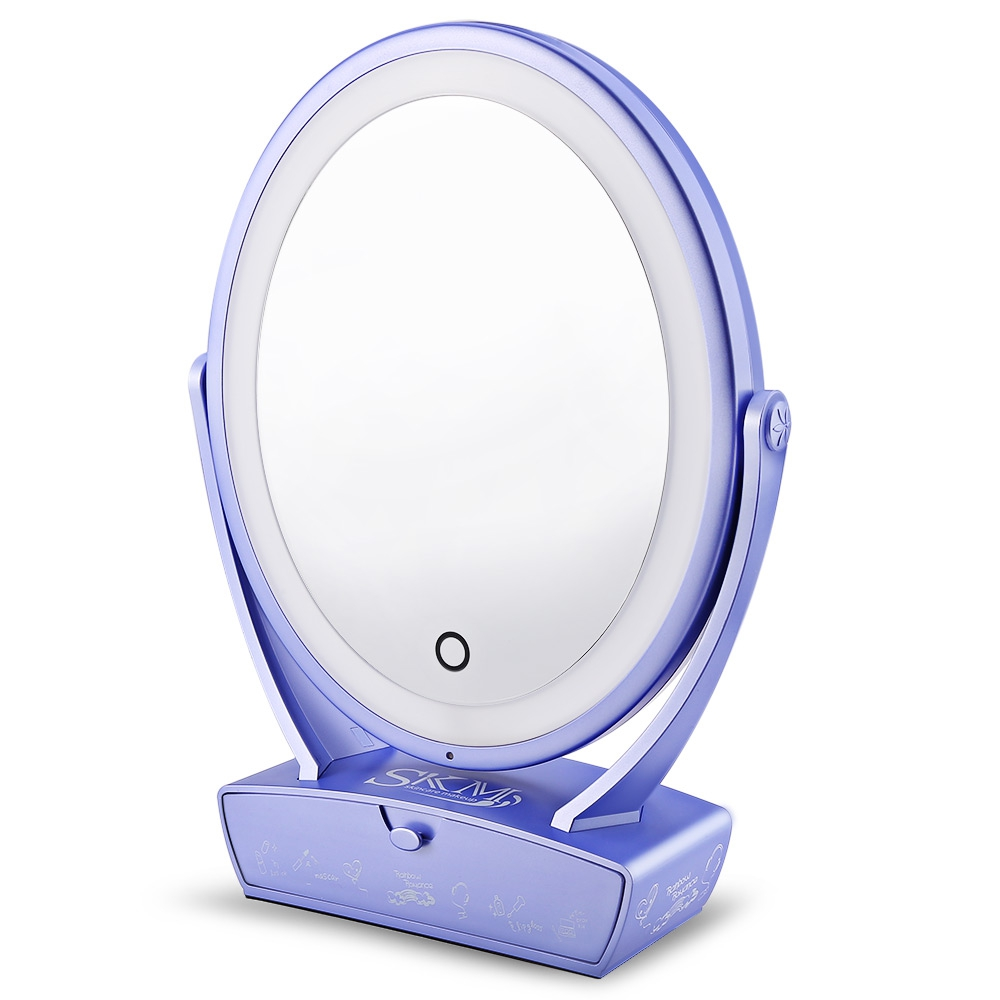 SKM LED Makeup Mirror Adjustable 5x Magnification Lighted Makeup Mirror Vanity. White Light LED Tap Light Bathroom... by