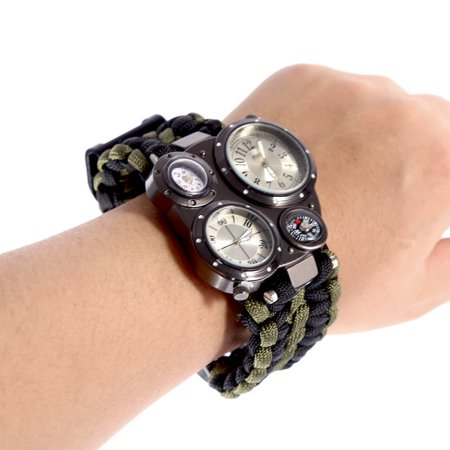 Supersellers Outdoor Survival Watch with Dual Time Compass, Hand Made Paracord Survival