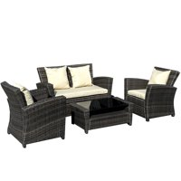 Deals on 4-Pc Gymax Wicker Rattan Patio Set Cushioned Furniture Seat