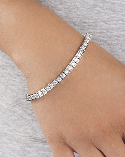 Silvertone Brass 7.5 Inch Boxed Design Tennis Bracelet with Cz Stones