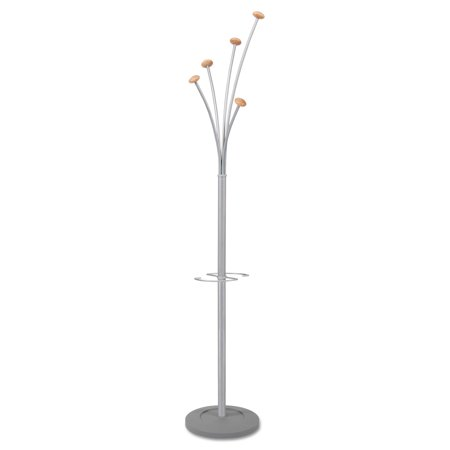 - Alba Festival Coat Stand with Umbrella Holder, Five Knobs, Silver Gray Steel/Wood