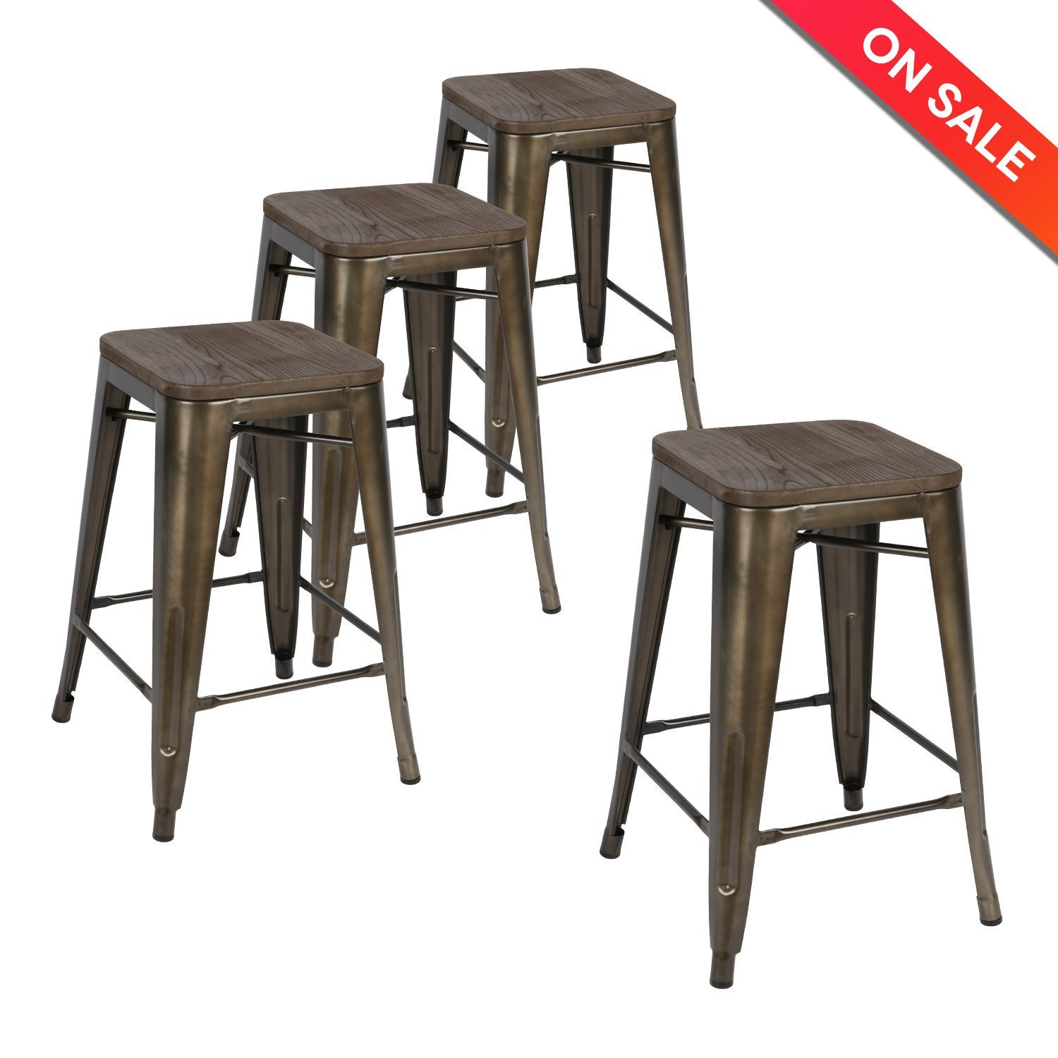 Lch 24 Inch Patio Metal Industrial Bar Stools Set Of 4 Indoor