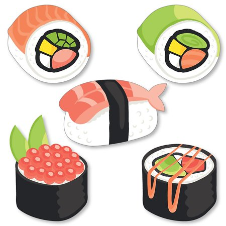 Let's Roll - Sushi - DIY Shaped Japanese Party Cut-Outs - 24 Count