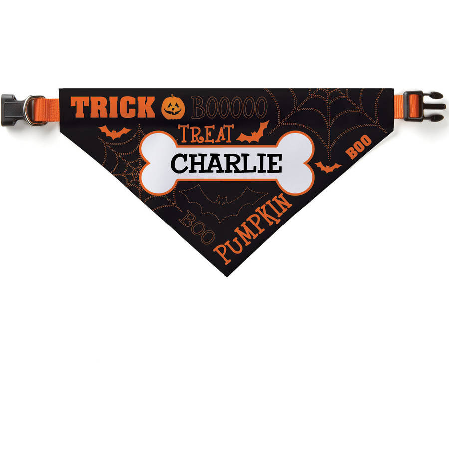 Personalized Trick Or Treat Dog Bandana Collar Cover