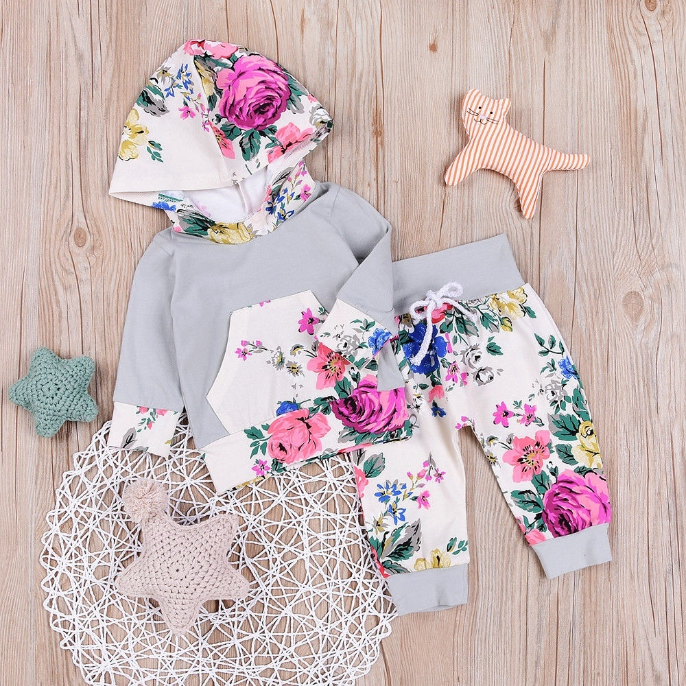 Newborn Toddler Baby Boy Girl Floral Hooded Tops PaD02Ms 2Pcs Outfits Set Clothes