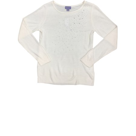 Womens Eggshell White Knit Bedazzled Sweater Casual Dress Pullover