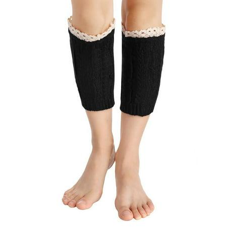 Avidlove Women Casual Knit Crochet Hollow Out Boot Cuffs Leg Socks - White Fur Leg Warmers