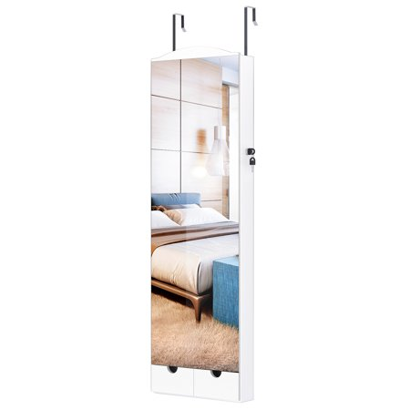 Wall and Door Mounted Jewelry Armoire with Frameless Mirror and 10 LED Lights, Lockable Jewelry Cabinet Organizer with Large Storage Capacity Full-Length Mirror and 2 Drawers (White) ()