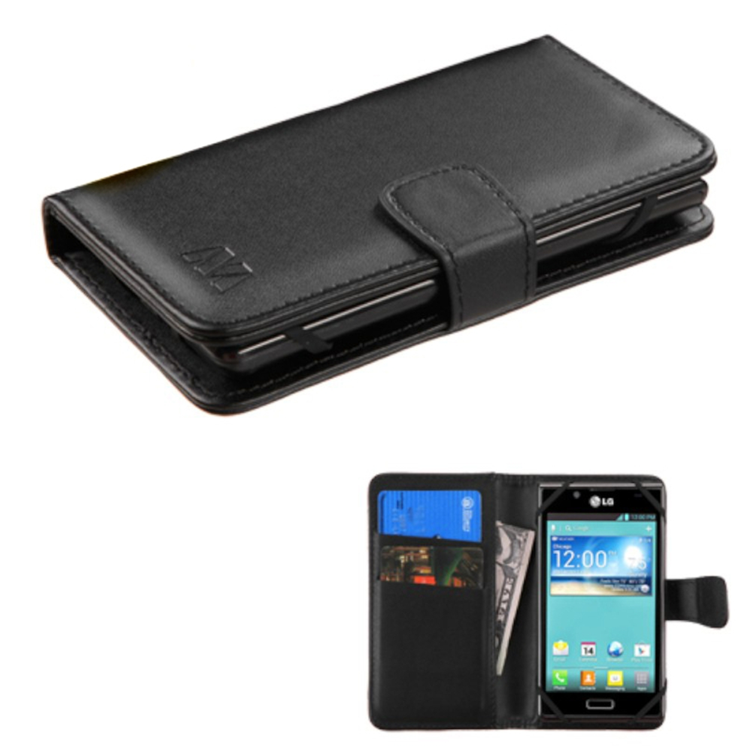 Insten Black Wallet Leather Case For iPhone SE 5S 5 5C/iPod Touch 5th 6th/LG Leon/ZTE Maven Overture 2 Fanfare Obsidian / Coolpad Rogue / Samsung Galaxy Core Prime Avant Note 7/Nokia Lumia 635 925 520