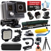 GoPro HD HERO Waterproof Action Camera Camcorder (CHDHA-301) with 32GB MicroSD Card + Monopod Selfie Stick + Car Charger + LED Night Video Light + Head Strap + Travel Case + Stabilizer Grip Handle