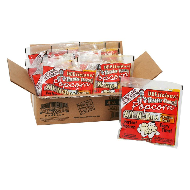 Great Northern Popcorn 4 oz. Popcorn Portion Packs - Case of 12