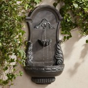 """John Timberland Outdoor Wall Water Fountain 33"""" High 2 Tiered Ornate for Yard Garden Patio Deck Home"""