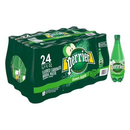 Perrier Green Apple Flavored Carbonated Mineral Water, 16.9 fl oz. Plastic Bottles (24 Count)