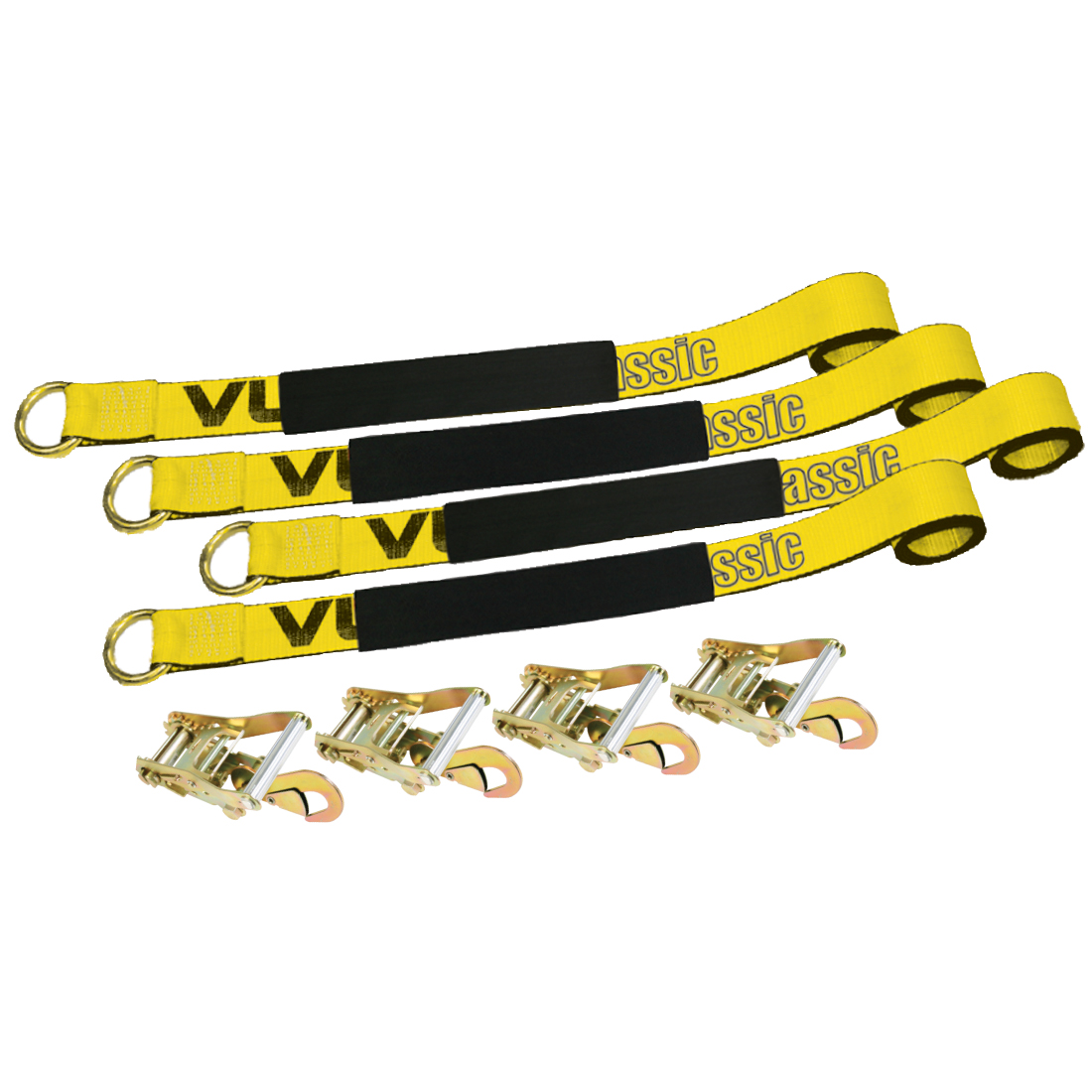 "Vulcan 2"" x 144"" Exotic Car Rim Tie Downs w/Ratchets - 3300 lbs. SWL, 4 Pack"
